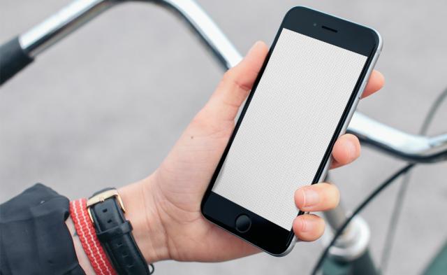 iPhone 6 Free Mockup on a Bike