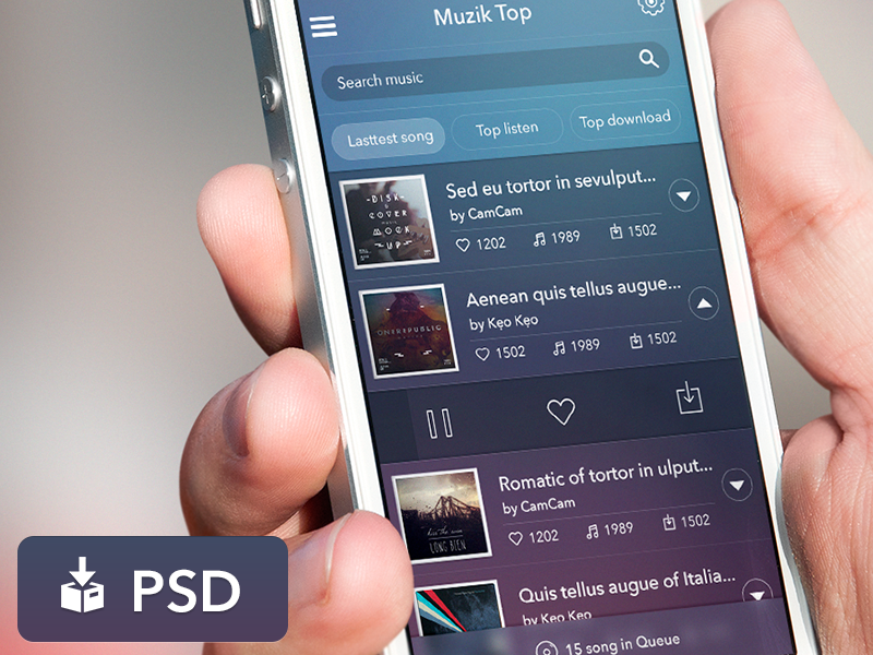 Freebie PSD: App Music UI
