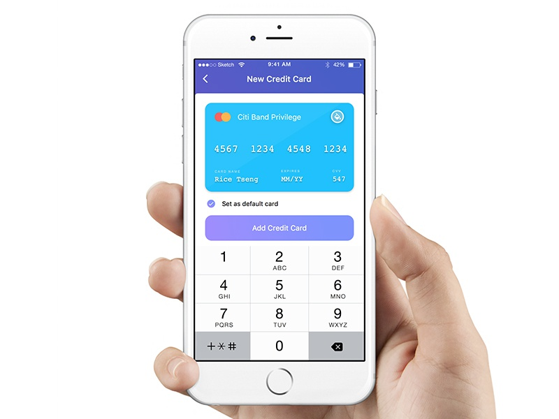 credit card prototype with Framer.js